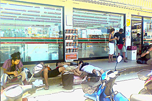 sleep in front of minimart